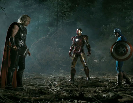 Iron Man, Thor, and Captain America in the Avengers