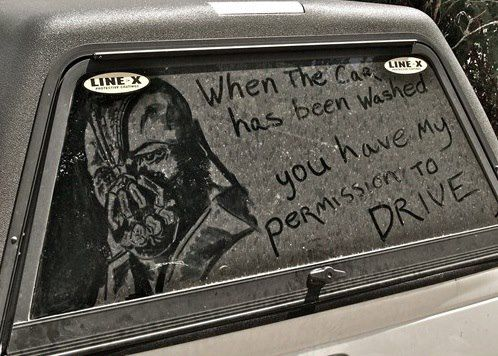 Bane Parental Snap Bane Dust Art on Truck Window