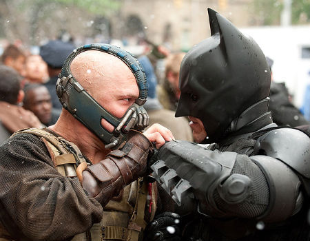 Batman and Bane in The Dark Knight Rises