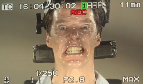 Benedict Cumberbatch in Hobbit Motion Capture Suit as Smaug The Hobbit: Benedict Cumberbatch in Mocap as Smaug