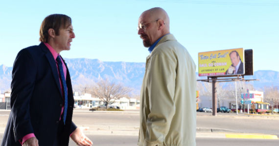 Bob Odenkirk and Bryan Cranston in Breaking Bad Tohajiilee Breaking Bad: Jesse Gives New Meaning to the Phrase Phoning It In