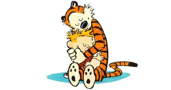 Calvin and Hobbes hugging Calvin & Hobbes Creator Believes Theres No Upside to a Movie Adaptation