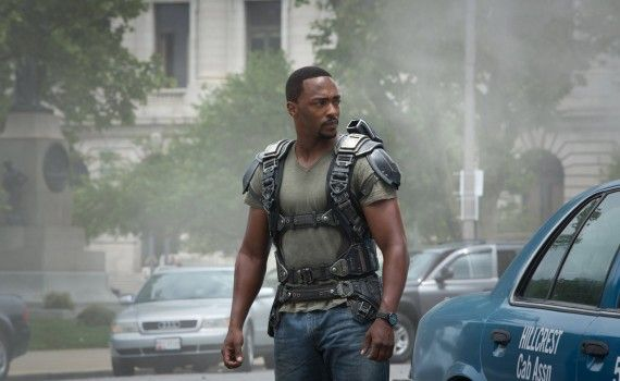Captain America 2 Official Photo Anthony Mackie Sam Wilson Jet Pack 570x350 New Captain America 2 International Trailer & Photos