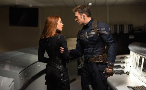 Captain America 2 Official Photo Chris Evans Scarlet Johansson Costumes 570x350 Captain America 2 Interview: Scarlett Johansson Talks Black Widow Solo Film