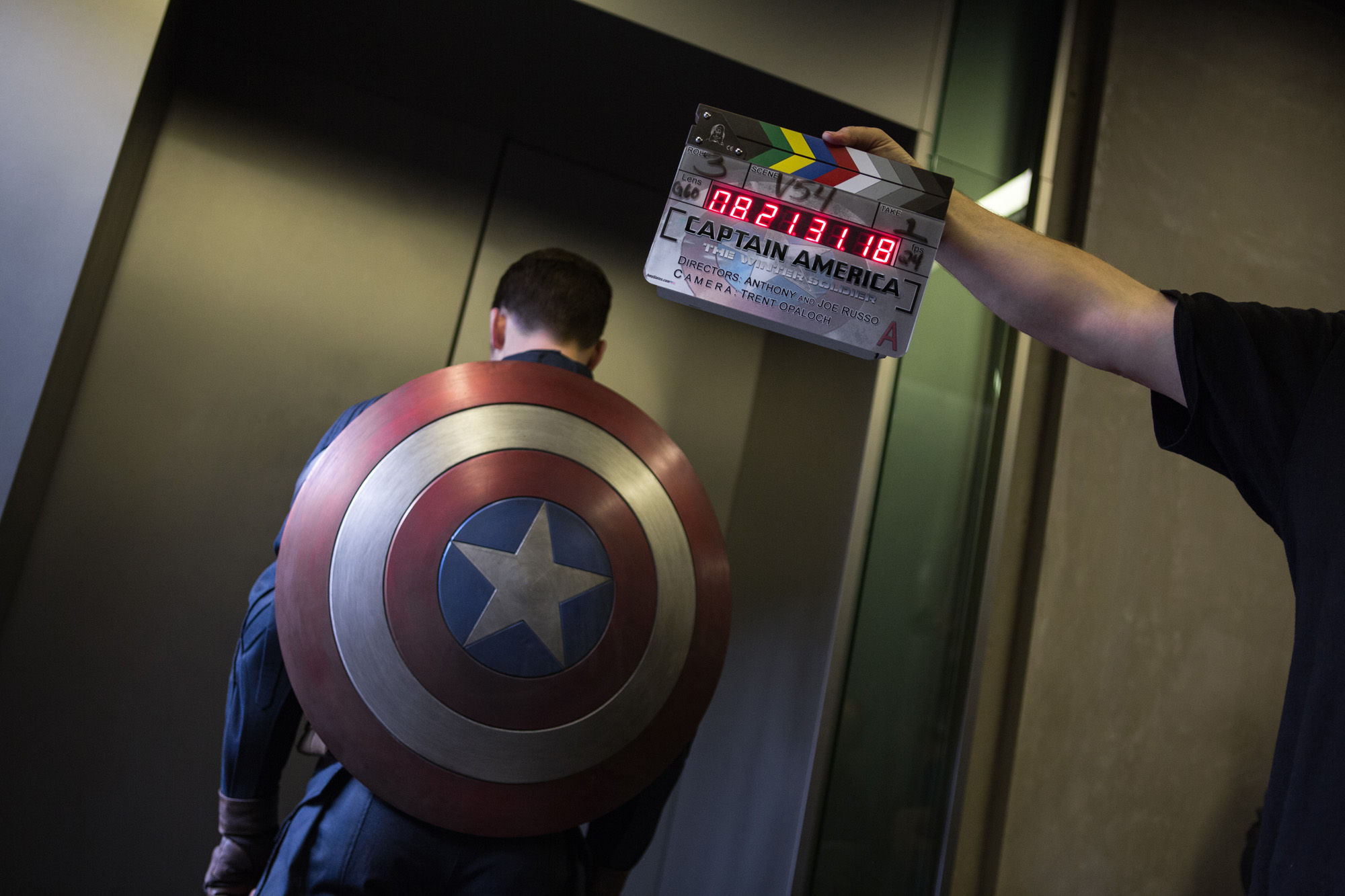 Captain America 2 Official Photo Shield Elevator Captain America 2 Official Photo   Steve with Shield enters Elevator