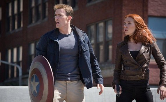 Captain America 2 Official Photo Steve Rogers Black Widow Regular Clothes 570x350 New Captain America 2 International Trailer & Photos