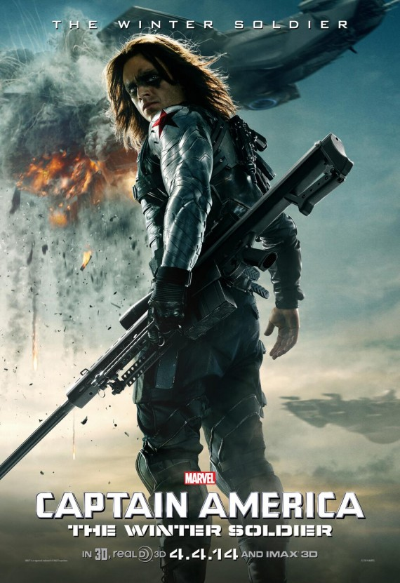 Captain America 2 Winter Soldier Character Poster 570x831 Captain America 2: Sebastian Stan Excited For The Winter Soldiers Future