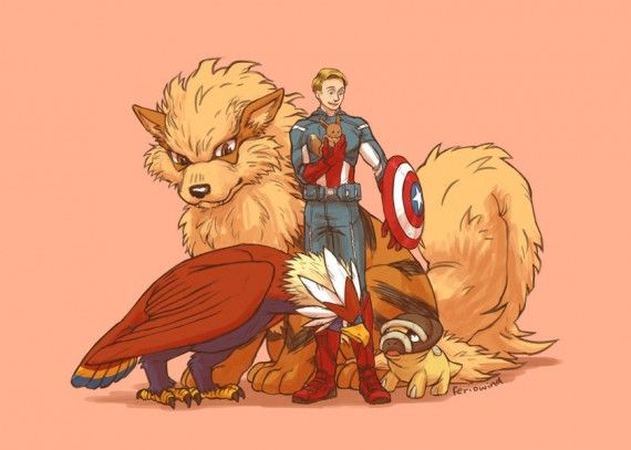 Captain America Pokemon 570x407 SR Geek Picks: Game of Thrones & Walking Dead Mashup, TMNT Bra, Avengers Meet Pokemon & More