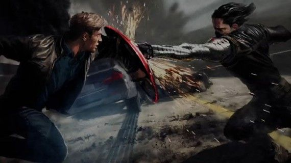 Captain America The Winter Soldier Bucky art 570x320 New Captain America 2 Battle Artwork & Amazing Spider Man 2 Harry Osborn Image