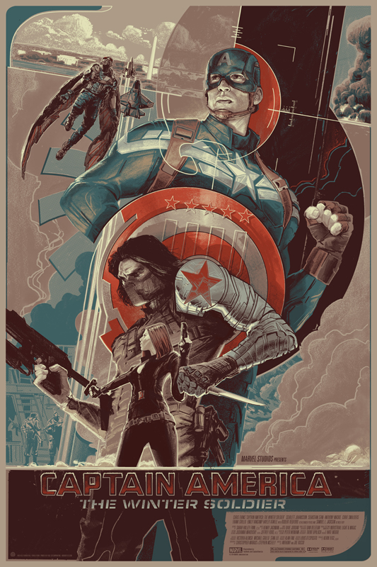 Captain America The Winter Soldier Mondo Poster Rich Kelly Variant Captain America 2 Breaks April Box Office Records [Updated]