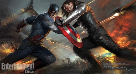 Captain America Winter Soldier Final Battle Concept Art 570x311 New Captain America 2 Battle Artwork & Amazing Spider Man 2 Harry Osborn Image