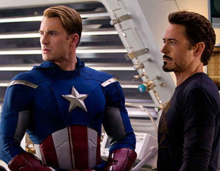 Captain America and Iron Man in the Avengers