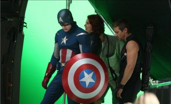 Chris Evans Captain America Movies Cameos 570x346 Chris Evans as Captain America shooting The Avengers with Hawkeye and Black Widow