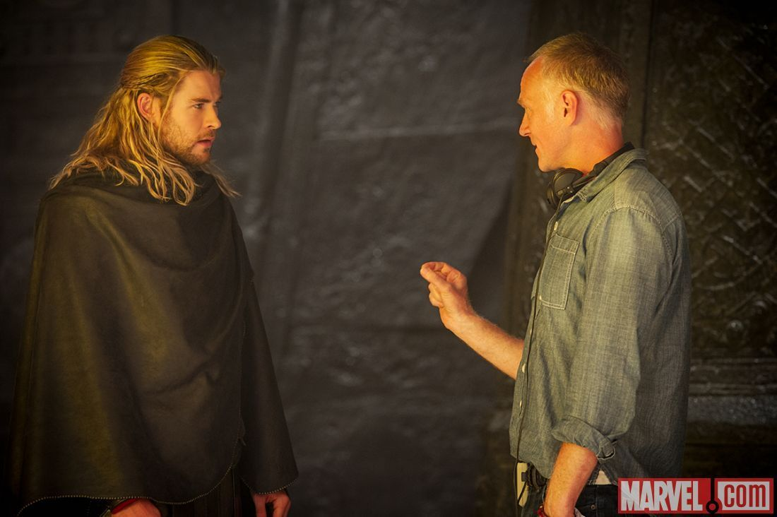 Chris Hemsworth with director Alan Taylor on the set of Thor The Dark World Chris Hemsworth with director Alan Taylor on the set of Thor: The Dark World