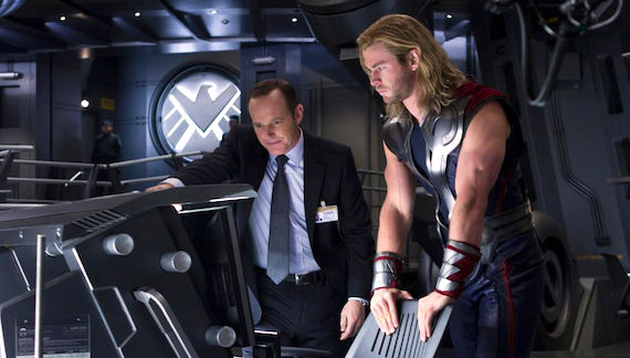 Clark Gregg and Thor in The Avengers Clark Greggs Agent Coulson Will Return in S.H.I.E.L.D. TV Series