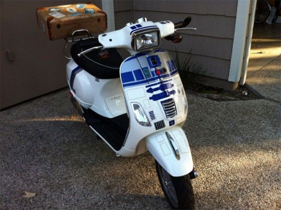 Custom Star Wars R2 D2 Themed Vespa Scooter 570x425 SR Geek Picks: Disney Princess Leia, James Bond Gunbarrel Compilation, Episode VII Director Auditions & More!