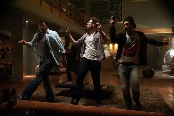 Danny McBride Seth Rogen James Franco This is the End 570x379 This is the End Cast Interview: Apocalypse, Grisly Deaths, & Playing Themselves