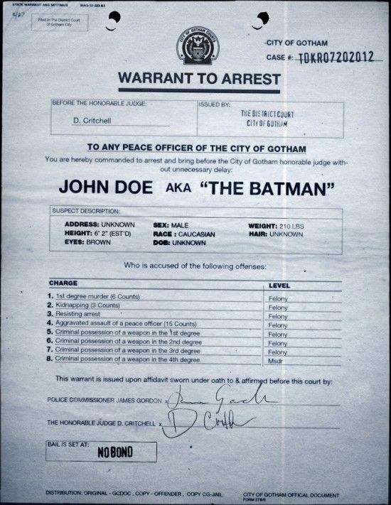 Dark Knight Rises Viral Game Batman Arrest Warrant Dark Knight Rises Viral Game   Batman Arrest Warrant
