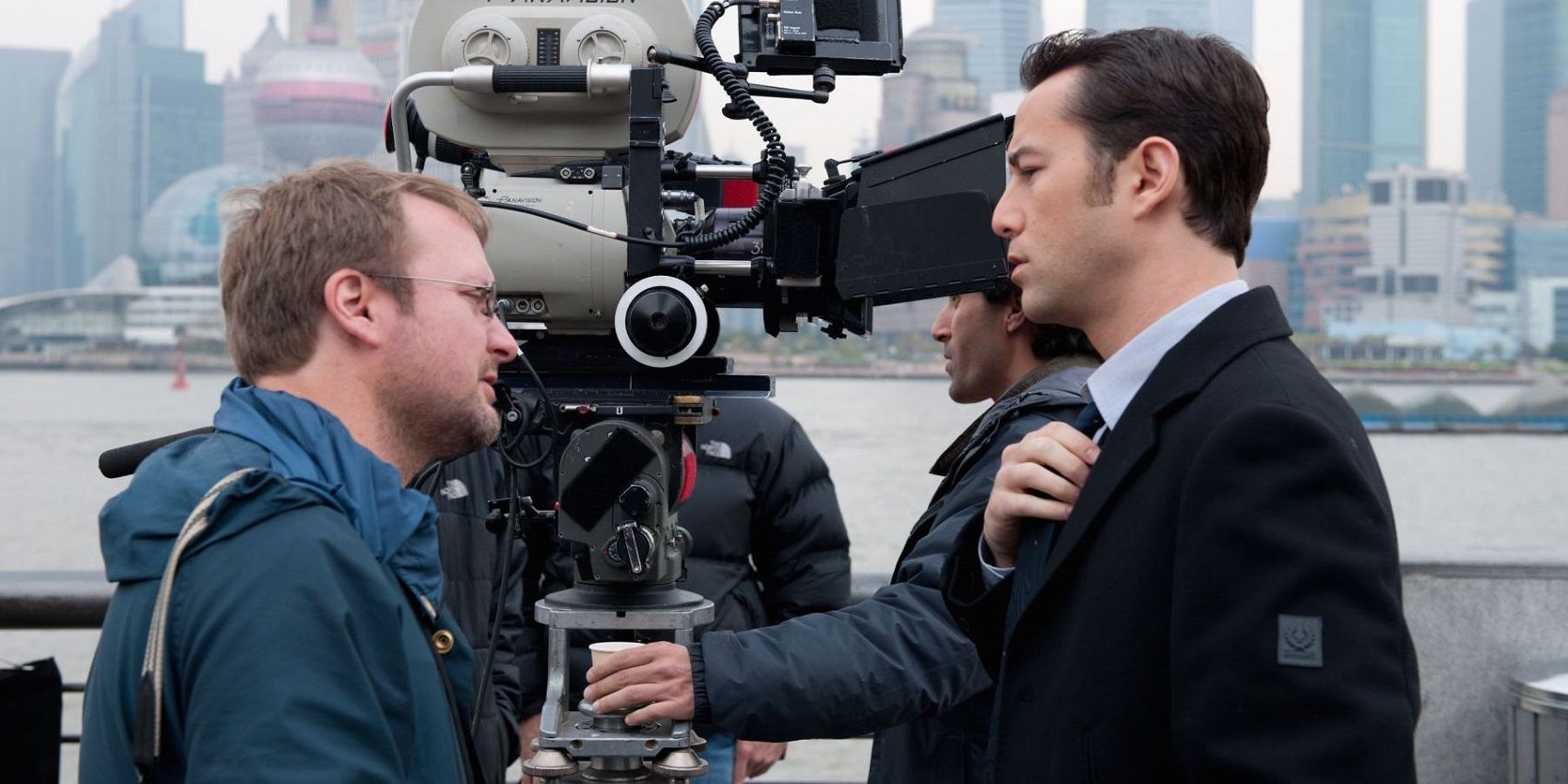 Director Rian Johnson on the set of Looper