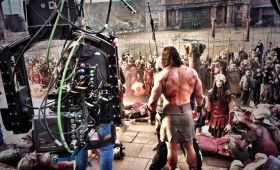 Dwayne Johnson on the set of Hercules 280x170 Dwayne Johnson Prepares for Battle in Hercules Images as Production Wraps