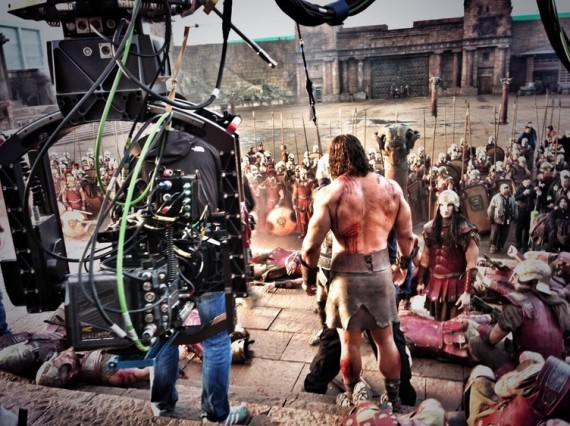 Dwayne Johnson on the set of Hercules 570x426 Dwayne Johnson on the set of Hercules