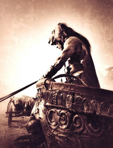 Dwayne Johnson rides a chariot in Hercules Dwayne Johnson Prepares for Battle in Hercules Images as Production Wraps