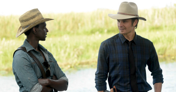 Edi Gathegi and Timothy Olyphant in Justified Season 5 Episode 1 Justified Season 5 Premiere Review