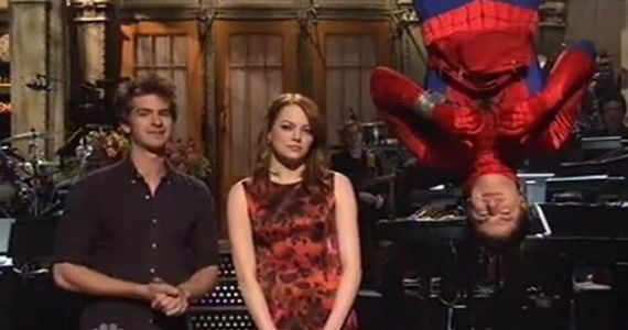 Emma Stone Andrew Garfield SNL Amazing Spider Man Emma Stone Addresses Amazing Spider Man Haters in SNL Monologue
