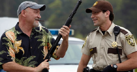 Frank Darabont and Jon Bernthal on the set of The Walking Dead Frank Darabont Reflects on Walking Dead Controversy & Sociopaths at AMC