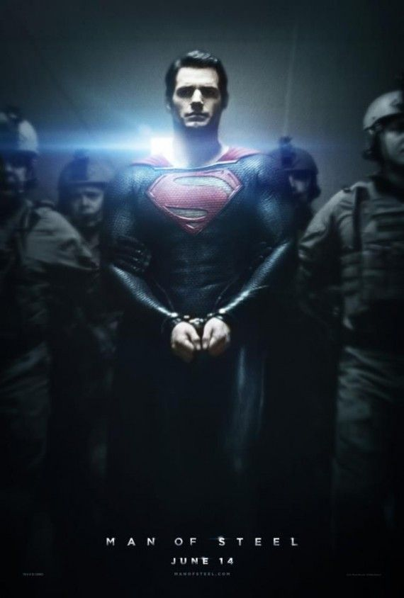 Full Superman Man of Steel Poster 570x844 New Man of Steel Poster: Can You Arrest Superman?