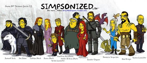 Game of Thrones Characters Simpsonized 570x244 SR Geek Picks: Game of Thrones Simpsonized, Disney Easter Eggs, Superheroes Past/Present & More