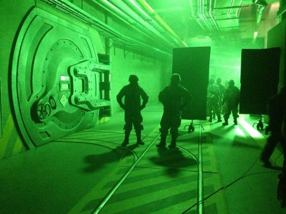 Godzilla set photo underground nuclear bunker 570x427 Godzilla Reboot: Plot Details and Set Photos of Bryan Cranston & Aaron Johnson