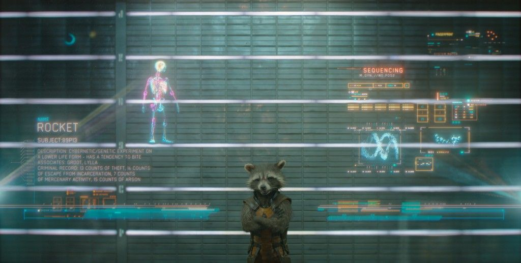 Guardians of the Galaxy Official Photo Rocket Raccoon Prison Lineup 1024x517 Guardians of the Galaxy: Bradley Coopers Rocket Raccoon Voice Revealed [Updated]
