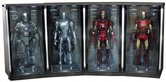 Hot Toys Iron Man 2 Hall of Armor 570x283 SR Geek Picks: History Of The Superman Logo, The Perfect Joker, Famous Movie Quotes & More
