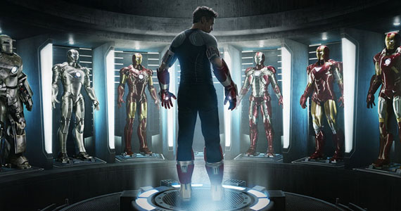 Iron Man 3 Hall of Armor Art Iron Man 3 Cast and Director Offer Character & Plot Details   Including Iron Patriot