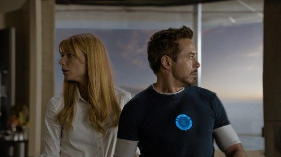 Iron Man 3 Pepper Potts Tony Stark 570x320 Iron Man 3 Cast and Director Offer Character & Plot Details   Including Iron Patriot