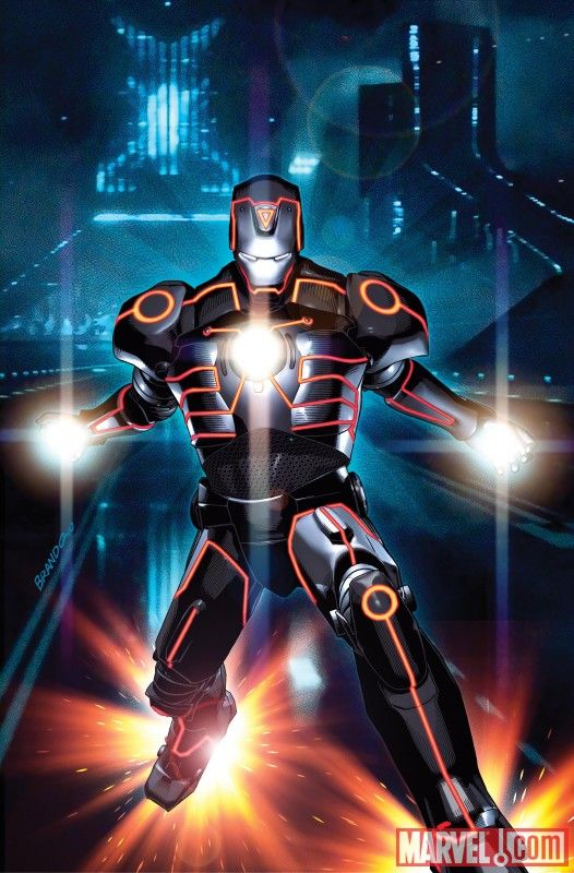 Iron Man Tron Variant Marvel Cross Promotes Characters with Tron Legacy & ESPN