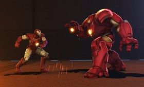 Iron Man vs Hulk Buster Armor in Iron Man Hulk Heroes United 2013 280x170 'Iron Man & Hulk: Heroes United' Images and Clip: Hulk Gets His Own Armor