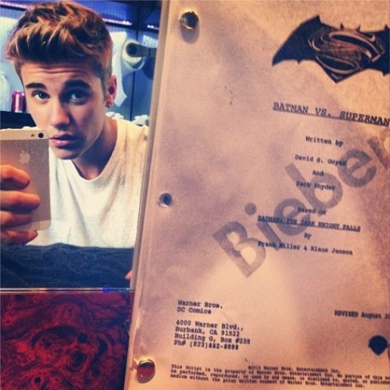 Is Justin Bieber Robin 570x569 Does Justin Bieber Have a Copy of the Batman vs. Superman Script?