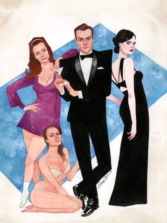 James Bond Beauties 570x760 SR Geek Picks: Tiny Adventure Time Art, Star Wars Cake Pops & James Bond Art