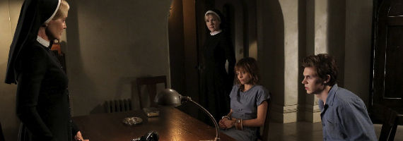 Jessica Lange Lizzie Brochere Lily Rabe and Evan Peters in American Horror Story Asylum Tricks and Treats American Horror Story: Asylum Episode 2: Tricks and Treats Recap