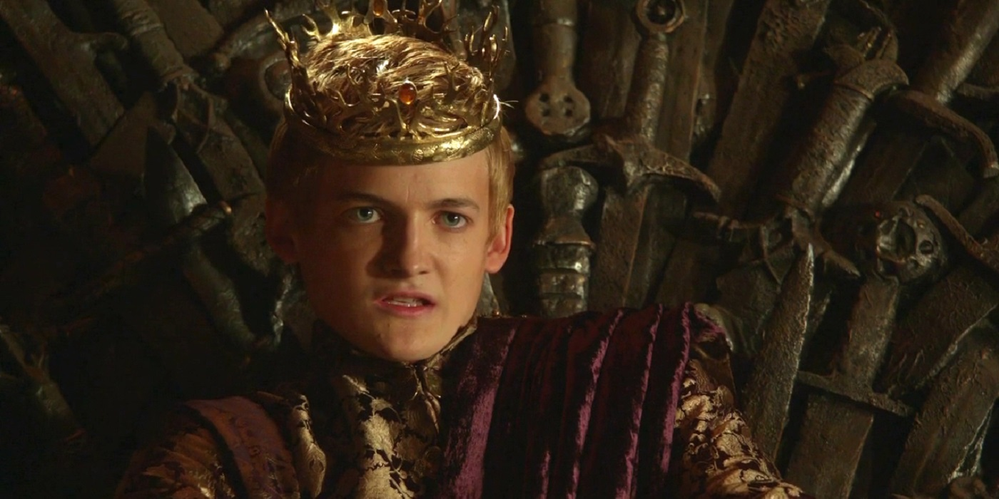 King Joffrey Baratheon played by Jack Gleeson on the Iron Throne on Game of Thrones