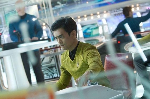 John Cho as Hiakru Sulu in Star Trek Into Darkness 570x377 'Star Trek Into Darkness': Simon Pegg & John Cho on Spoilers, Star Trek 3, & Star Wars