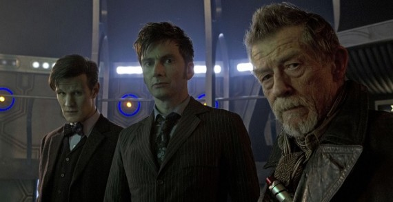John Hurt David Tennant and Matt Smith in The Day of the Doctor 570x294 Major Doctor Who 50th Anniversary Spoiler Revealed Before Premiere