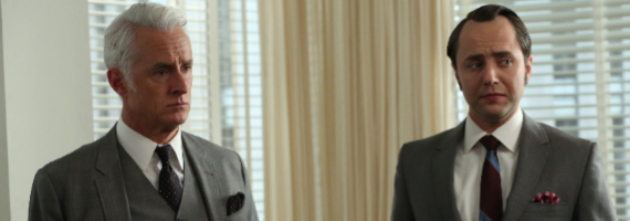 John Slattery and Vincent Kartheiser in Mad Men A Tale of Two Cities Mad Men Season 6, Episode 10 Review – Transmissions To Do Harm