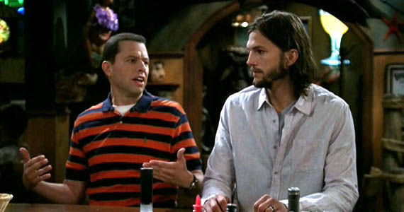Jon Cryer and Ashton Kutcher on the season 9 Two and a Half Men premiere Monday TV Ratings: Two And A Half Men Smashes, Playboy Club Crashes