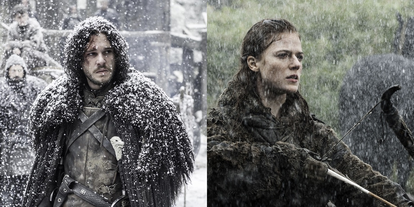 Jon Snow played by Kit Harrington at the Wall, and the wildling Ygritte played by Rose Leslie on Game of Thrones