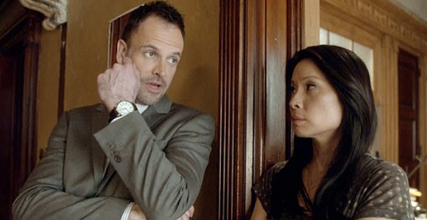 Jonny Lee Miller and Lucy Liu in Elementary Season 2 Episode 21 Elementary: Send In The Drones