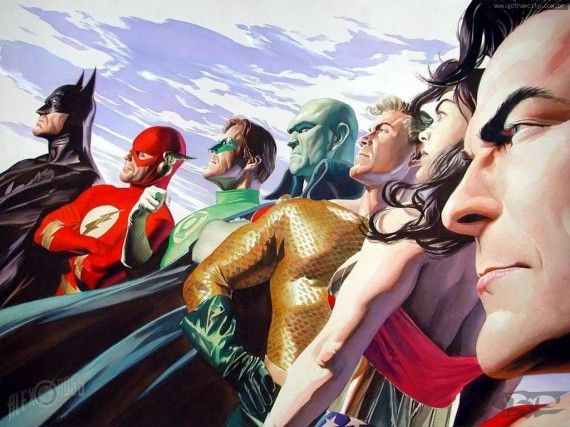 Justice League Team Art 570x427 Justice League Team Art
