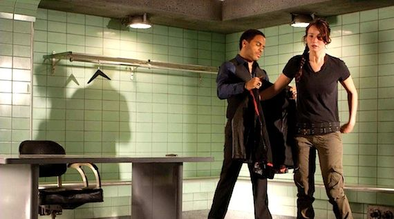 Katniss and Cinna in the Hunger Games The Hunger Games Clip: Katniss Meets Lenny Kravitz